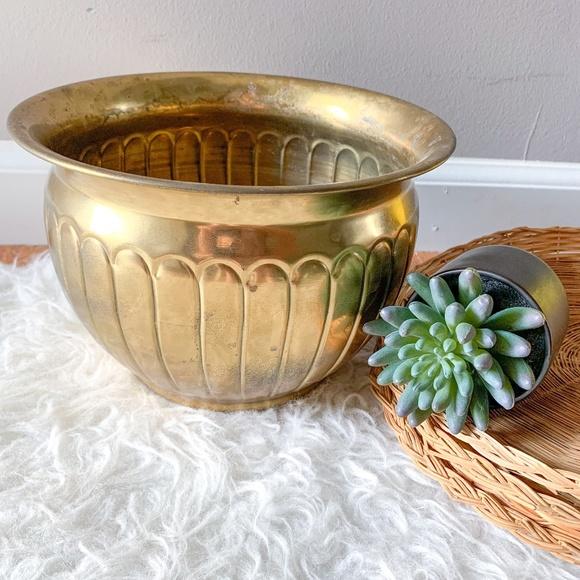 Vintage MCM Gold Brass Planter Flower Pot